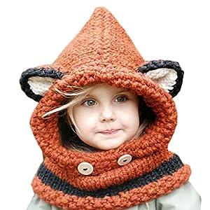 (ビグッド)Bigood 可愛い 秋冬 ニット帽 キッズ 女の子 帽子 赤ちゃん ベビー 帽子 耳付き 子供用 男の子 防寒 ニット マフラー アウター オレンジ 狐柄 スヌード ネックウォーマ オレンジ