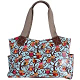 Womens Ladies Designer Style Oilcloth Floral Owl Satchel School Shoulder Bag
