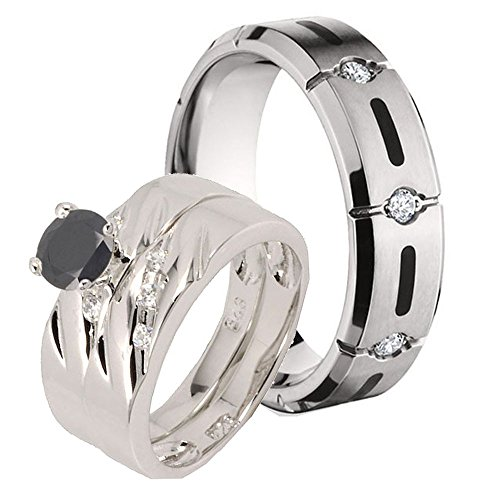 4Pcs Titanium Resin Inlay & Sterling Silver 925 Round Black Simulated Diamond Ring Set Sz 6, 8