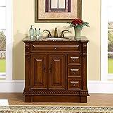 Silkroad Exclusive Countertop Granite Stone Single Sink Bathroom Vanity with Cabinet, 38-Inch