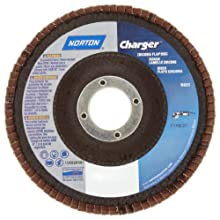 Norton Charger R822 High Performance Abrasive Flap Disc, Type 27, Threaded Hole, Fiberglass Backing, Zirconia Alumina