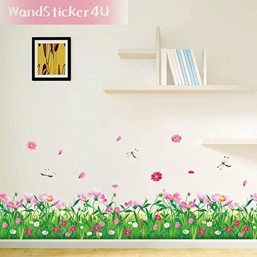 wandsticker4u-blumenwiese-mit-libellen-breite-114-cm-grune-natur-gras-bordure-entfernbare-wand-aufkl