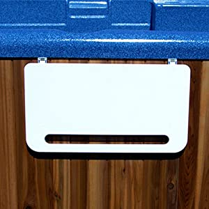 Hot tub caddy retractable spa shelf with for Outdoor towel caddy