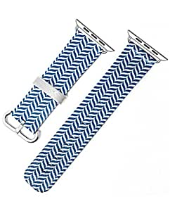 Apple Watch Band 42mm, Replacement Band Genuine Leather Iwatch Strap With Silver Metal Clasp For iWatch 42mm - Blue Waves