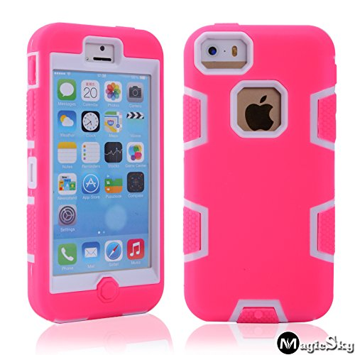 5C Case, Iphone 5C Case Cover, Magicsky Full Body Hybrid Impact Shockproof Defender Case Cover For Apple Iphone 5C, 1 Pack(White/Hot Pink)