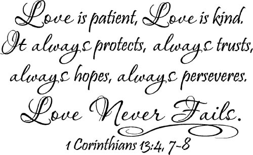 #2 Love is patient, love is kind. It always protects,
