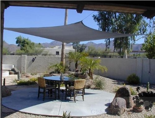 Titan 13 Ft X 16.5 Ft Rectangle Sun Shade Sail (4m X 5m) Shading Canopy ~ Sand Color