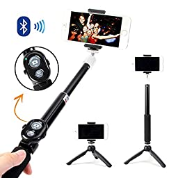 Selfie Stick, GMYLE® Aluminium Telescopic Monopod Pole with Tripod Stand and Bluetooth Remote Shutter (Black)