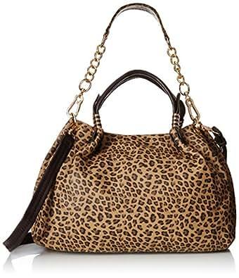 MG Collection Saida Leopard Shopper Hobo Shoulder Bag, Brown, One Size