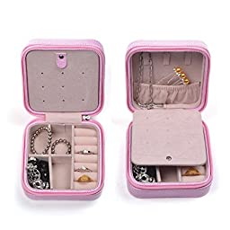 KLOUD City® Pink Color Travel Jewelry Box Organizer Display Storage Case for Rings Earrings Necklace(Pink)