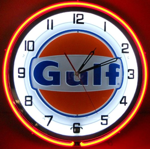 "Gulf 18"" Neon Lighted Wall Clock Gasoline Gas Fuel Pump Oil Tanker Sign Orange New"