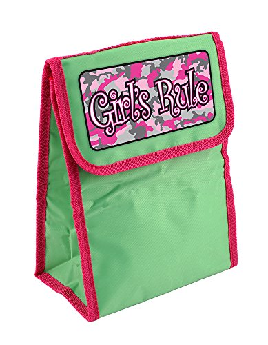 Dimension 9 Personalized Lunch Bag, Girls Rule, Green/Pink front-339099