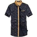 SSLR Men's Printing Pattern Casual Short Sleeve Shirt (X-Large, Blue(False Diamond Collar))