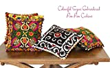 Home Decor Floral Suzani Pillow Cases Lot of 5 pc Embroidered Cushion Covers 16X16
