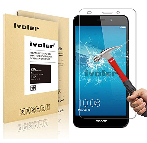 Huawei Honor 5c Protection écran , iVoler® Film Protection d'écran en Verre Trempé Glass Screen Protector Vitre Tempered pour Huawei Honor 5c - Dureté 9H, Ultra-mince 0.20 mm, 2.5D Bords Arrondis- Anti-rayure, Anti-traces de doigts,Haute-réponse, Haute transparence- Garantie de Remplacement de 18 Mois