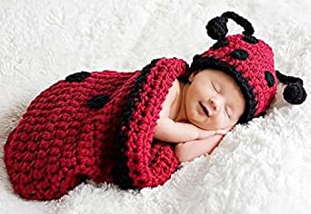 Mrsleeper Ladybug Baby Costume Photo Photography Prop Knit Crochet 3-12months