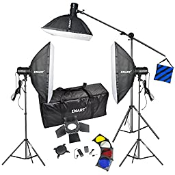 Emart Photo Studio 750 Watt Three Flash Strobe Boom Lighting Kit - 3 Studio Flash/strobe, 3 Softboxes, 3 Light Stands, 1 Boom Arm, 1 Barndoor,1 Flash Trigger