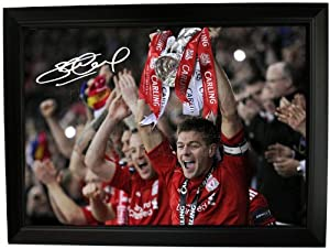 Steven Gerrard Signed And Framed Photo Print --- Liverpool Fc Carling Cup Winners 2012 Football Soccer Autograph 12x8 A4 Glossy Frame Poster