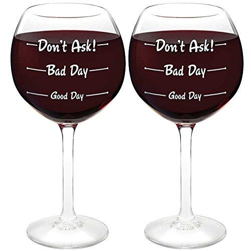 (Set/2) Don't Ask Wine Glasses 12 Ounces - Measures Your Levels Of Stress ask farm 250