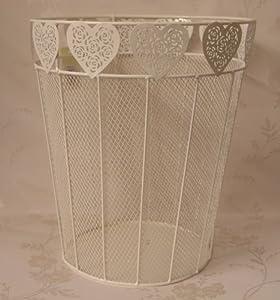 Shabby chic antique white metal waste paper bin with heart detail kitchen home - Shabby chic wastebasket ...
