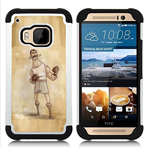 HTC One M9 /M9s / One Hima - 3 in 1 Bunte Printed Heavy Duty Polycarbonat (PC) und Soft Black Silikon-Gel Jacken-Case Cover (Boxer Retro Weinlese-männlicher Mann-Handschuhe)