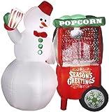 Gemmy Animated Airblown Snowman with Popcorn Machine