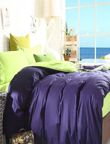 WAKXZH ® bicolore copertura federe lenzuolo piumino (blu + verde)