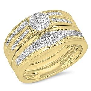0.35 Carat (Ctw) 10K Yellow Gold White Diamond Men & Women's Cluster Trio Bridal Set (Size 6)