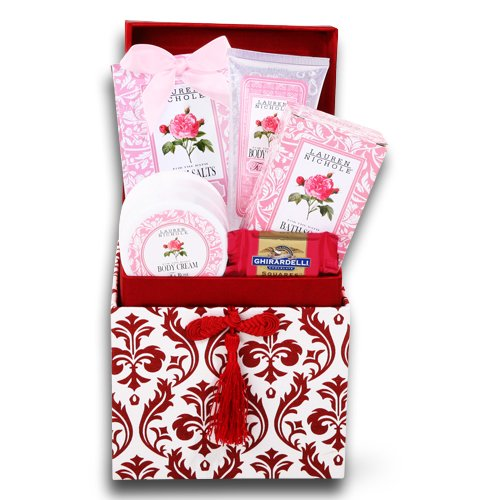 Valentines Day Roses Spa Gift Basket