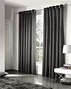 Savoy Black Gold Embroidered Chain Link Lined 46x72 Ring Top Curtains #ztir *as* by Curtains