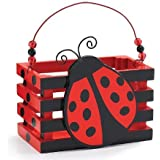 Adorable Ladybug With Hearts Wood Crate For Home Decor, Party Favor Or Decoration