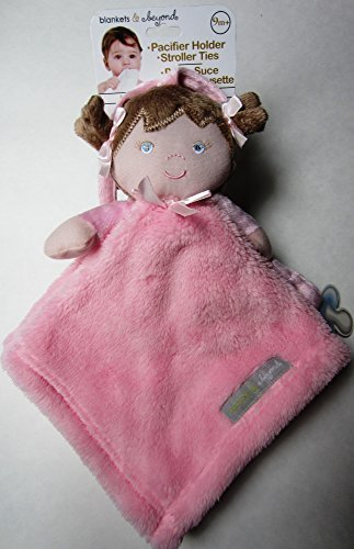 Blankets & Beyond Baby Girl Security Blanket with Pacifier Holder and Stroller Ties - 1