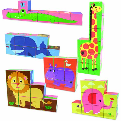 Vilac Melusine's 9 Cardboard Blocks Baby Toy, Animal
