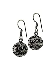 Frabjous1 Fusion Oxidized Ball Style German Silver Earring For Women