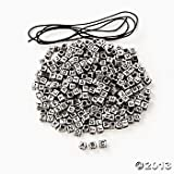300 Silvertone ABC Beads/ALPHABET Beading KIT with 12 yds Cording/Craft/Girls JEWELRY Making/SCOUTS/Party Activity