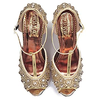 Donna Vintage Inspired T-Strap Heels in Gold