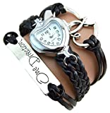One Direction Heart Watch Charm Bracelet+Twin Hearts+One Direction+Leather MIDNIGHT BLACK