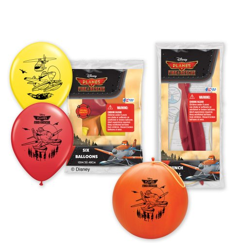 Pioneer National Latex Disney Planes Fire and Rescue 6 Balloons/4 Punch Balls, Assorted