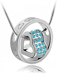 Eleganzza Heart Ring Aquablue Crystal Pendant Necklace For Women & Girls