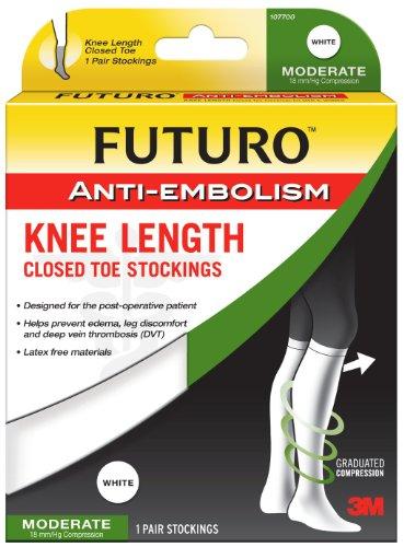 Futuro Anti-Embolism Stockings Large Regular White Knee Length Closed Toe 1 PairB0000AKON6 : image