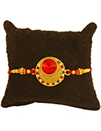 BOGATCHI Bright Gold And Stone Designer Rakhi Bracelet With FREE Roli Chawal, Rakhi For Brother, Rakhi Gift For...