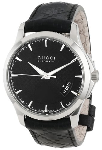 "Gucci Men's YA126413 ""G-Timeless"" Black Diamond Pattern Dial Watch"
