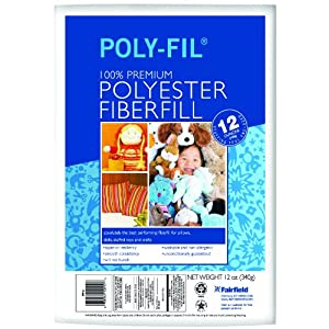 Fairfield Poly-Fil Premium Polyester Fiber, White, 1 Bag, 12-Ounce - Washable and Non-Allergenic
