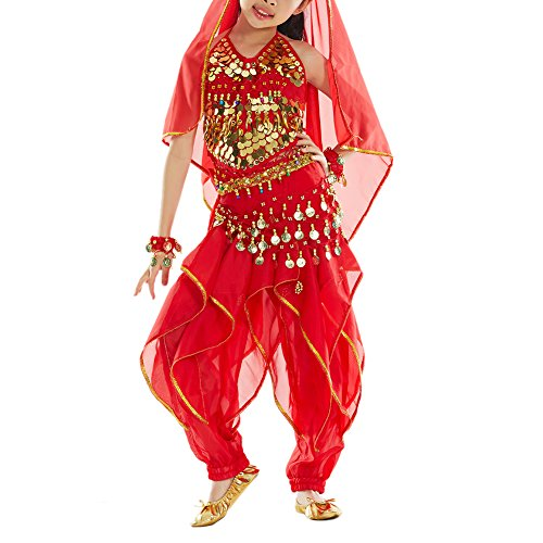 BellyLady Kid Tribal Belly Dance Halloween Costume, Harem Pants & Halter Top RED-M (Red Belly Dancing Costume)