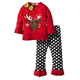 Big Elephant Baby Girls' 2 Piece Christmas Elk Tee and Pants Clothing Set G97