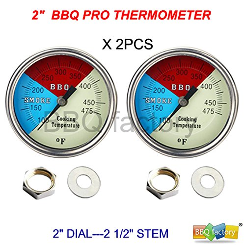 "Why Choose 2"" 475F (2-pack) BBQ CHARCOAL GRILL PIT WOOD SMOKER TEMP GAUGE THERMOMETER 2.5""..."