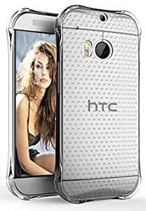 M8 Case, E LV HTC One M8 Case Cover - Clear Soft Rubber Hybrid ARMOR Defender PROTECTIVE Case COVER for HTC One M8 - CLEAR