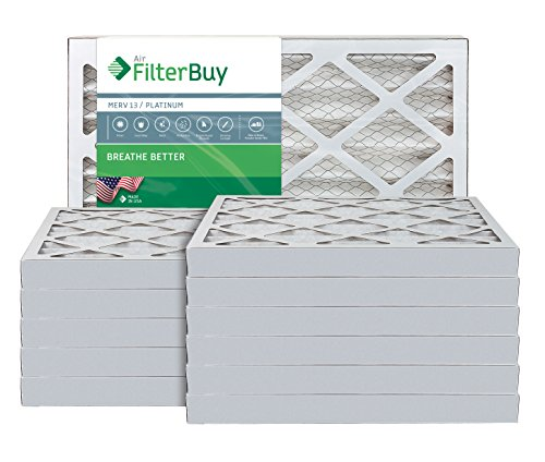 AFB Platinum MERV 13 16x24x2 Pleated AC Furnace Air Filter. Pack of 12 Filters. 100% produced in the USA.