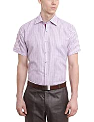 Arihant Men's Pink Striped Half Sleeve Poly Cotton Regular Fit Formal Shirt (AR7278H0142)