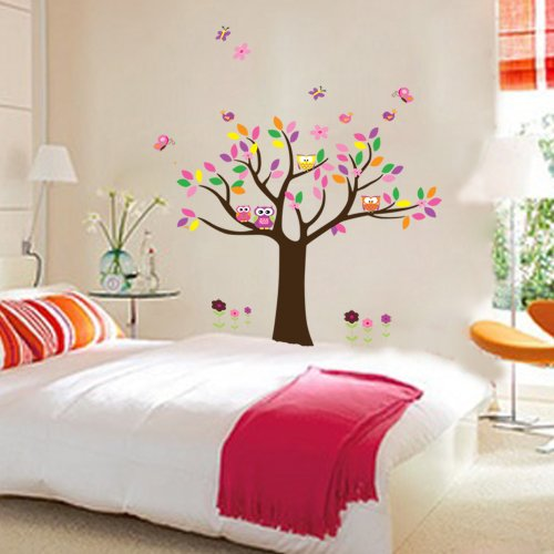 Hunnt Pretty Princess Bedroom Colorful Flowers Butterfly Owls Birds Around Tree Nursery Wall Art Stickers Decal Home Decor Decorate Removable for Nursery Baby Girls Kid's Room